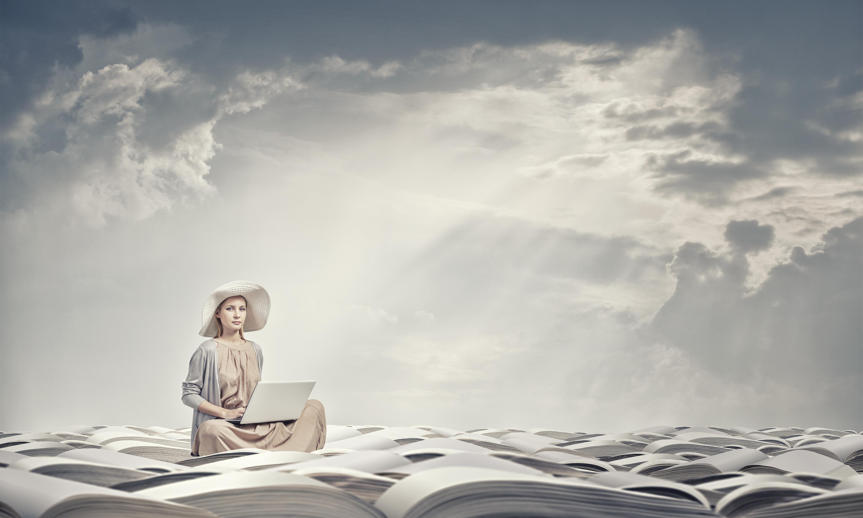 Romantic woman using laptop
